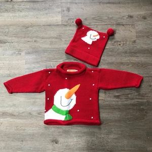 Clauce (12 mo) Snowman Knit Sweater Set Unisex
